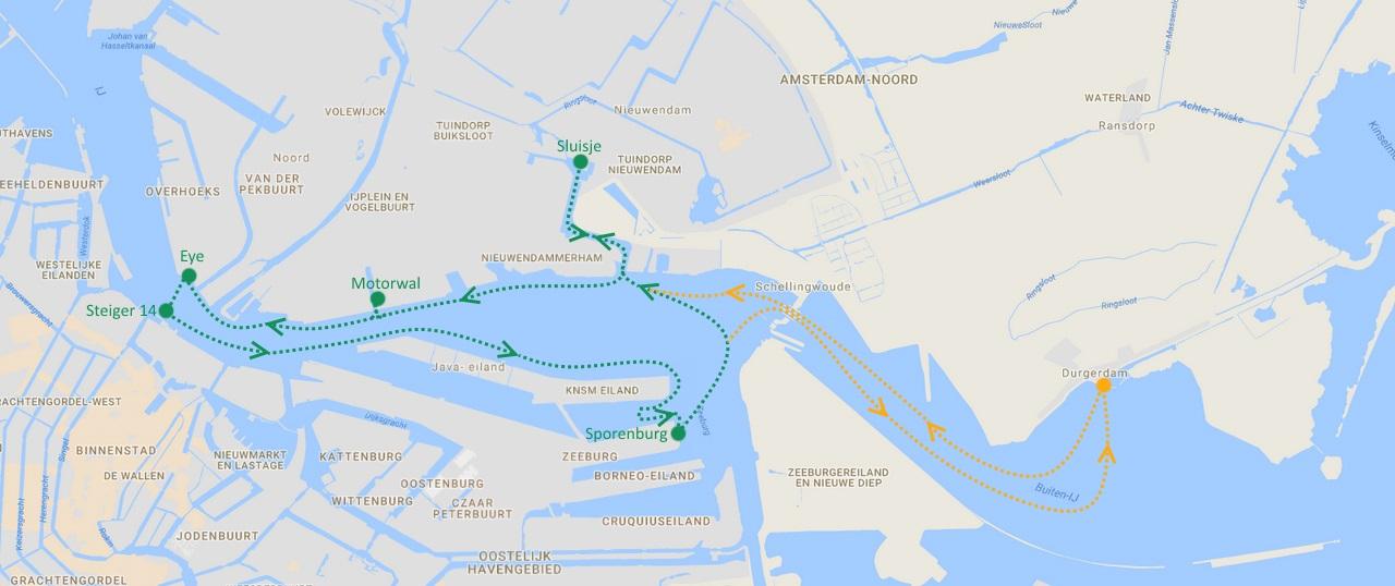 route rondvaart IJ-buurtveer Amsterdam 2018
